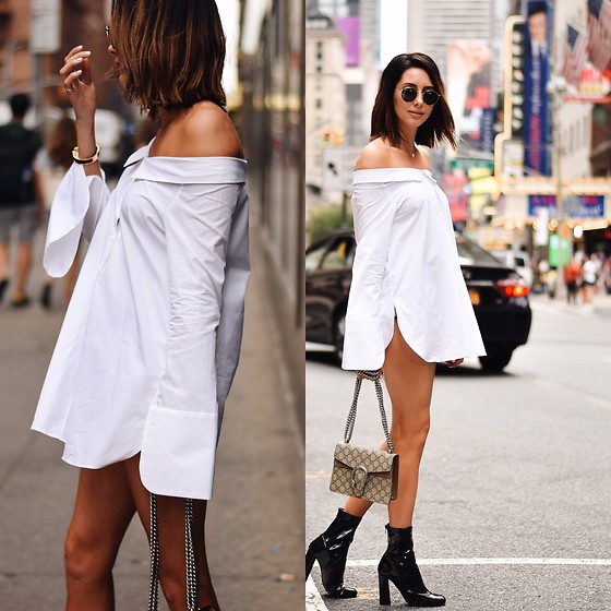 Amber - Zara Dress Shirt, Gucci Bag, Tony Bianco Low Boots - NYFW Look 1