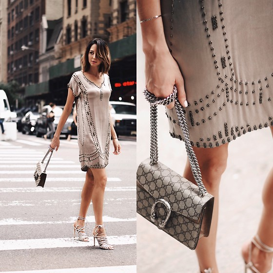 Amber - Massimo Dutti Silk And Studded Dress, Mode Collective Strappy Heels, Gucci Purse - Silk dress