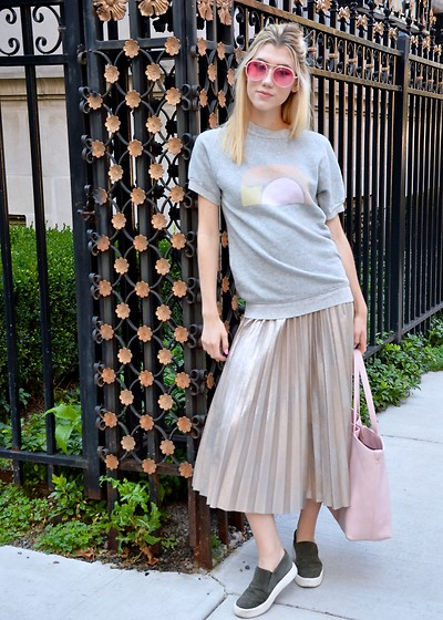 Dani Mikaela McGowan - Monogram Nudes Sweatshirt, Zara Metallic Pleated Skirt, Vince Sneakers, Target Pink Bag - Send Nudes.