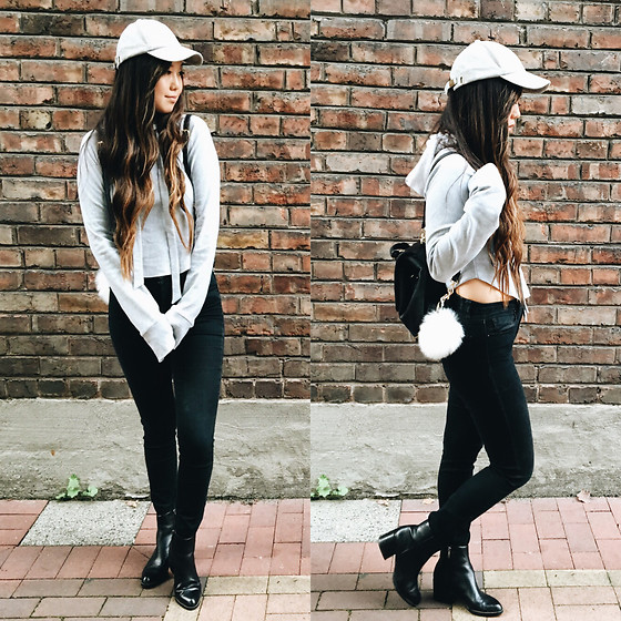 Karen C - Free People Hat, Are You Am I Hoodie, Urban Outfitters Black Jeans, Sam Edelman Boots, Free People Fuzzy Faux Fur Pompom, Free People Mini Backpack - Fuzzy // Lookstolustfor.com
