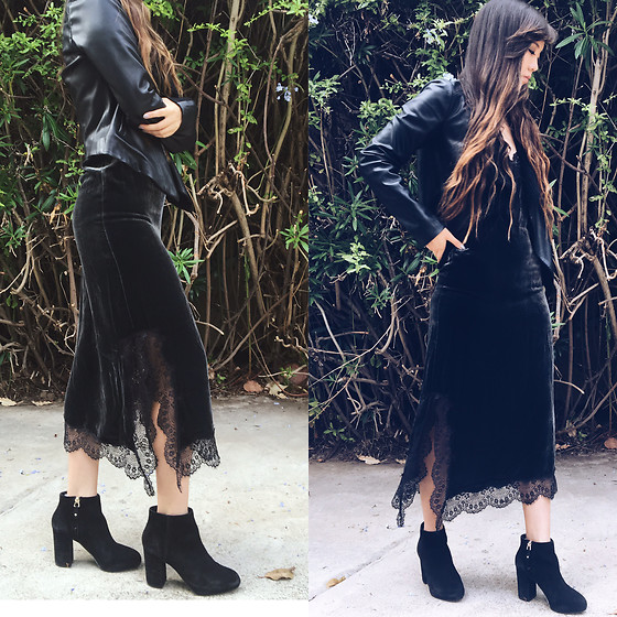 Karen C - Bb Dakota Black Leather Jacket, Zara Velvet Lace Midi Dress, Topshop Black Suede Shoes - Lace & leather // Lookstolustfor.com