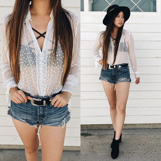 Karen C - For Love And Lemons Cross Your Heart Bra, Free People Loveliest Dot Button Down, Princess Polly Arizona Belt, Levi's Jean Shorts, Nightwalker Hat, Topshop Booties - Sheer // Lookstolustfor.com