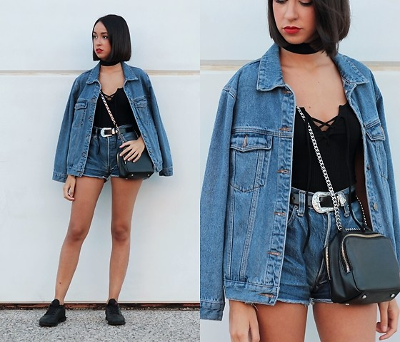 Esther L. - Missguided Denim Jacket, Rosegal Lace Up Top, Zaful Belt, Levi's® Denim Shorts, Zara Chain Bag, Zaful Black Choker, Reebok Classic Sneakers - JOIN DENIM