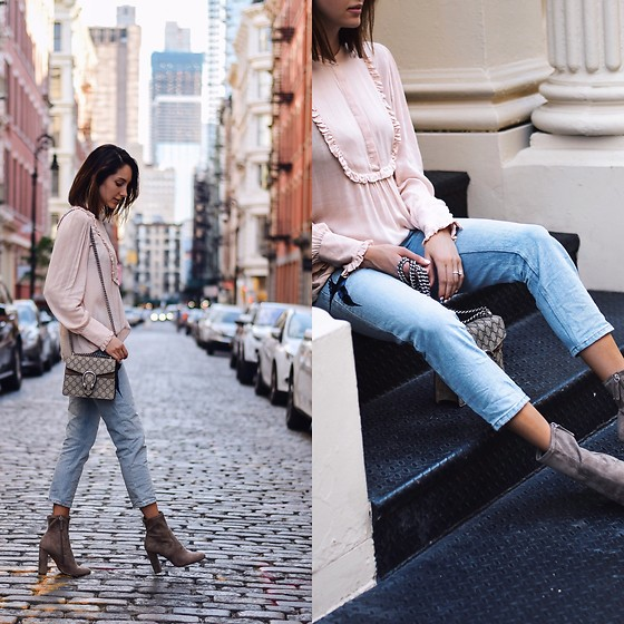 Amber - The Kooples Pink Blouse, All Saints Bird Embroidered Jeans, Gucci Dionysus Bag, Steve Madden Low Boots - Pastels