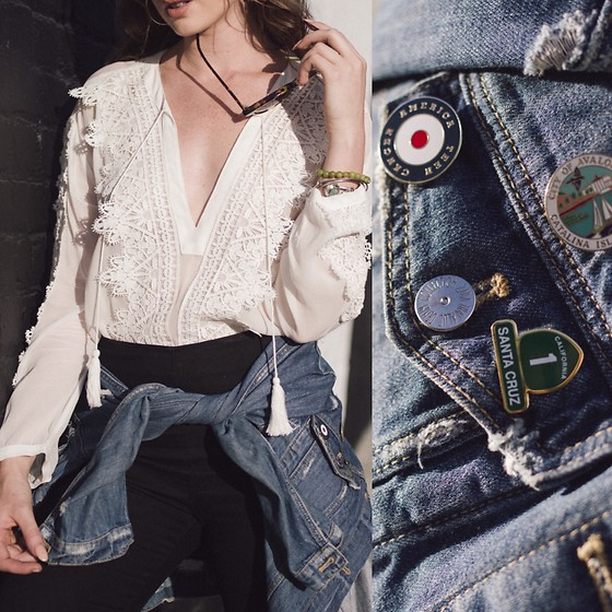 Ms. Morgan Ryan - Line + Dot Blouse, Zara Denim Jacket - FORGET ME N O T S