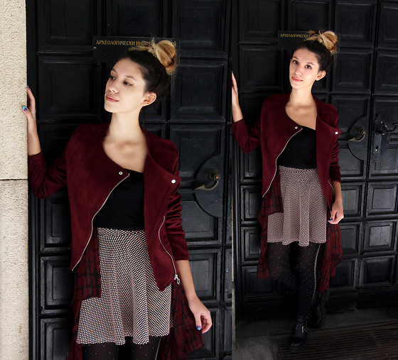 Wonderstyle - Stradivarius Burgundy Suede Jacket, Terranova Black Top, Tally Weijl Dotted Baby Skirt, H&M Long Burgundy Red And Black Blazer, Asos Black Dotted Legwear, Tendenz Black Autumn Boots - Autumn Cherry