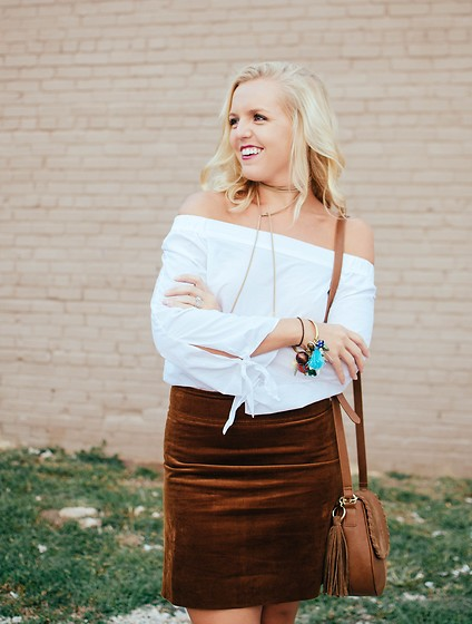 Taylor Reese - Shein Off Shoulder Blouse, J.Crew Mini Skirt In Corduroy, Red Camel Two Tone Saddle Bag, Forever 21 Lariat Choker - Corduroy Skirt & Off Shoulder Top
