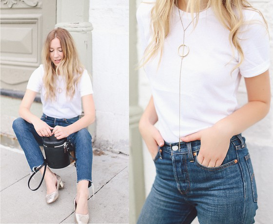 Gabrielle Lacasse - Frank And Oak White Tee, Levis Jeans, Aldo Grandma Heels, Rudsak Bucket Bag - Denim and White Tee