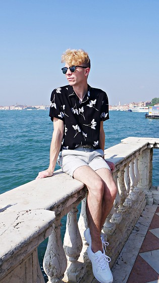 Luke Heywood - Topman Floral Revere Shirt, River Island Smart Short, M&S Trainers - Venice Style