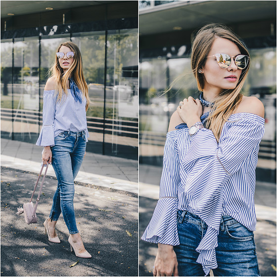 Julie P - Sheinside Off Shoulder Blouse, Zara Jeans, Zerouv Sunglasses - Off the shoulder and ruffles