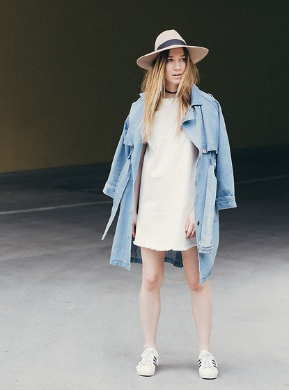 Gabrielle Lacasse - Joa Denim Trench, Joa Denim Dress, Ace Of Something Wide Brim Hat, Adidas Superstar - Light Layering