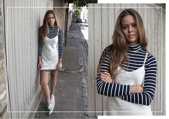 Jil Carrara - Urban Outfitters Navy Striped Turtleneck Dress, Intimissimi White Silk Slip, Converse Shoes - Sleepwear