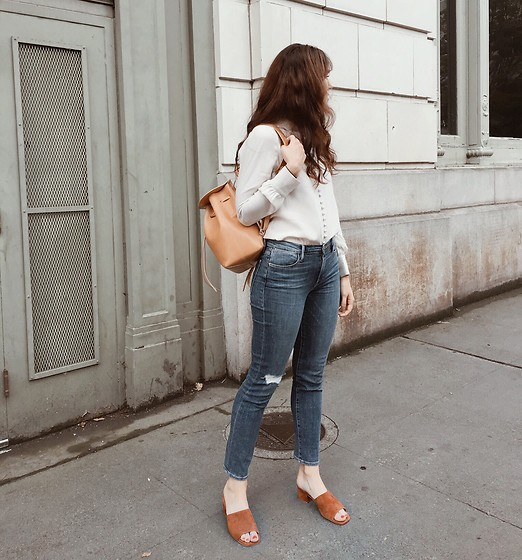 Tonya S. - Jeffrey Campbell Shoes Farrow Mules, Frame Button Up - Downtown Portland