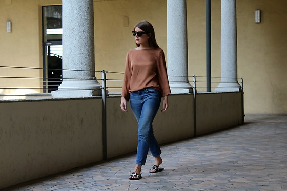 Angharad Jones - Asos Sunglasses, & Other Stories Top, Weekday Jeans - Silk and Denim