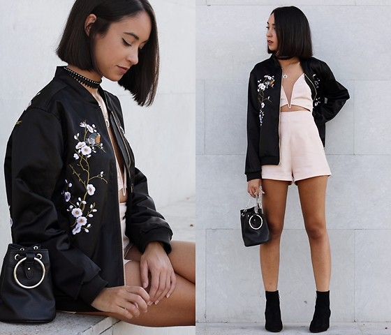 Esther L. - Zaful Metal Ring Bag, Zaful Silver Horn Necklace, Rosegal Punk Choker, Zaful Embroidered Bomber Jacket, Zaful Leaf Choker, Missguided Nude Playsuit, Zara Ankle Boots - ORIENTAL
