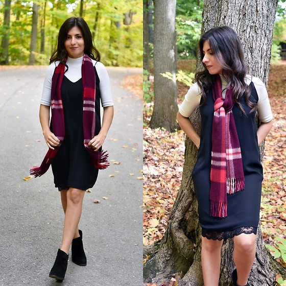 Karin Jurgens - Zara Slip Dress, Zara Turtleneck, Kuna Plaid Scarf, Zara Ankle Boots - Slip dress over shirt