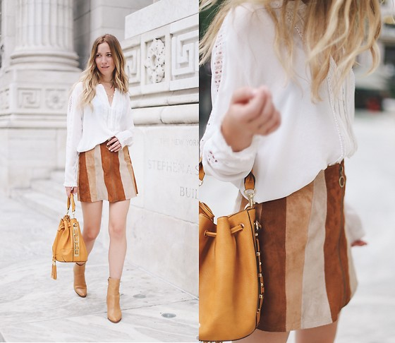 Gabrielle Lacasse - White Crown Brand Mini Skirt, Marc Cain White Blouse, Aldo Bucket Bag, Aldo Ankle Boots - New York Public Library