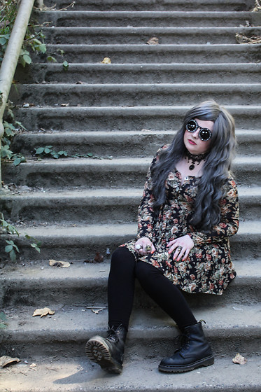 Ash Stash - Witch Worldwide Symbols Sunglasses, Gothic Lolita Wigs Gray Wavy Wig, Vintage Floral Dress, Dr. Martens Vintage Leather Boots - 90's Witch