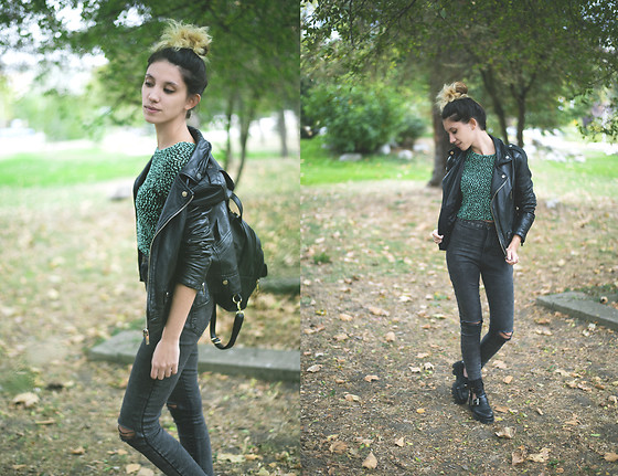 Wonderstyle - H&M Favorite Cozy Long Sleeved Crop Top, Forever 21 Black Leather Backpack, Bershka Motorcycle Jacket, Bershka High Waist Cropped Jeans, Tendenz Black Boots - Rockin' flora /part 1/