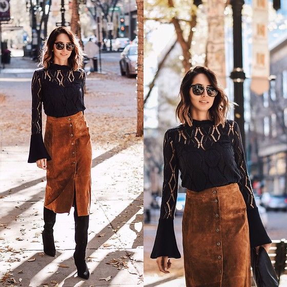 Amber - See By Chloé Lacy Bellsleeves Top, Ganni Suede Midi Skirt, Aldo Black Boots - Lacy knit