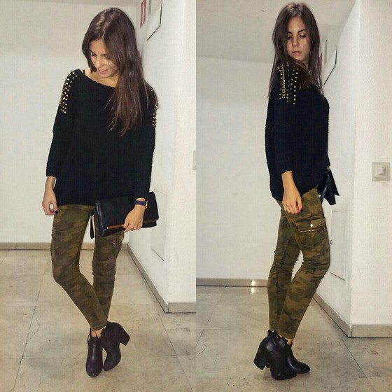 Andrea Ávila - Sheinside Sweater With Studs, Bershka Military Cargo Pants, Mustang Black Boots, Primark Purse - Falling for the trend