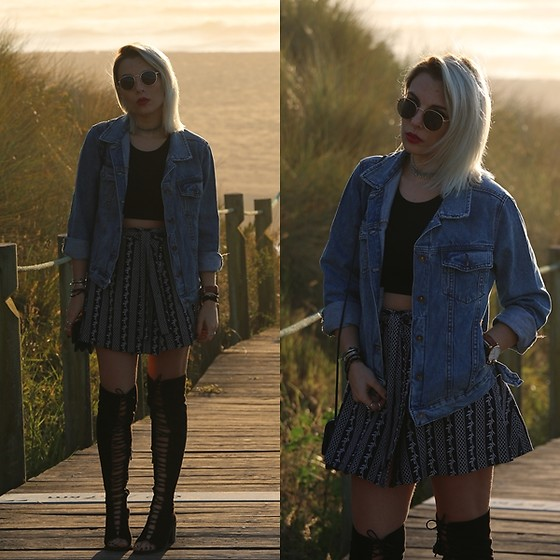 Cátia Gonçalves - Sammydress Denim Jacket, Rosegal Skirt, Missguided Crop Top, Ego High Knee Lace Up Boots - Give me a whisper And give me a sign