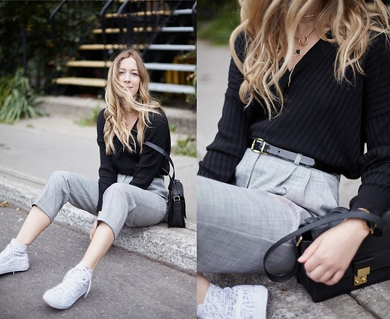 Gabrielle Lacasse - Topshop V Knit, Topshop High Waisted Pants, Vans High Tops, 3.1 Phillip Lim Messenger - Casual and comfy
