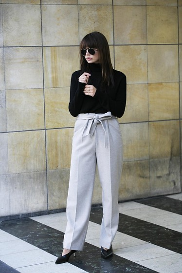Iris . - Anecdote Pants, Gigi Hadid X Tommy Hilfiger Sunglasses, Equipment Turtleneck Sweater - HIGH WAISTED & BELTED