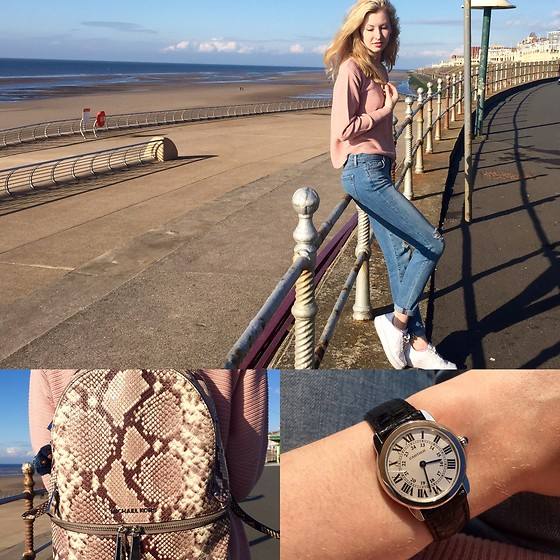 Bec Oakes - Topshop Dusty Rose Jumper, J Brand Slim Boyfriend Fit Jeans, Nike White Trainers, Michael Kors Snake Print Backpack, Cartier Watch - Pantone Dressing