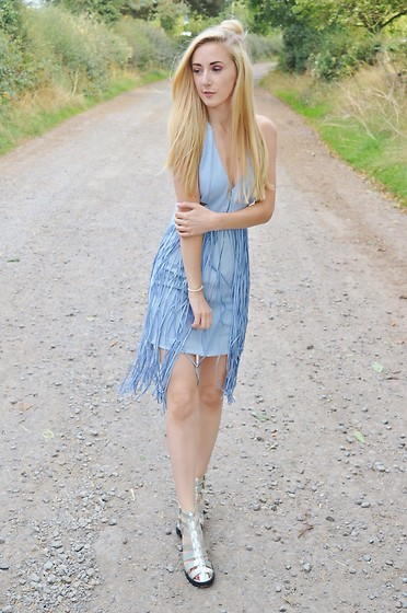 Isobel Thomas - Zaful Dress, Tkmaxx Sandals - Blue Fringe Dress