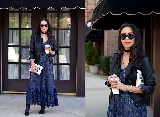 Melissa De Leon - Anthropologie Lace Midi Dress, Anthropologie Black Leather Jacket, Madewell Black Boot, Anarchy Street Silver Stacking Rings - Leather & Lace