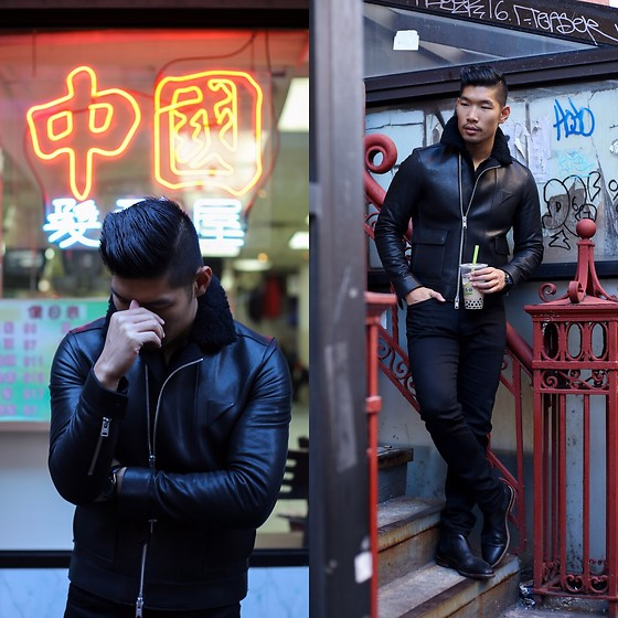 Leo Chan - All Saints Leather Jacket, Gordon Rush Boots - Chinatown