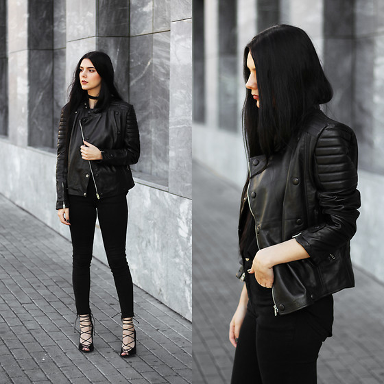 CLAUDIA Holynights - Leather Skin Biker Jacket, Na Kd Lace Up Shoes - All black everything