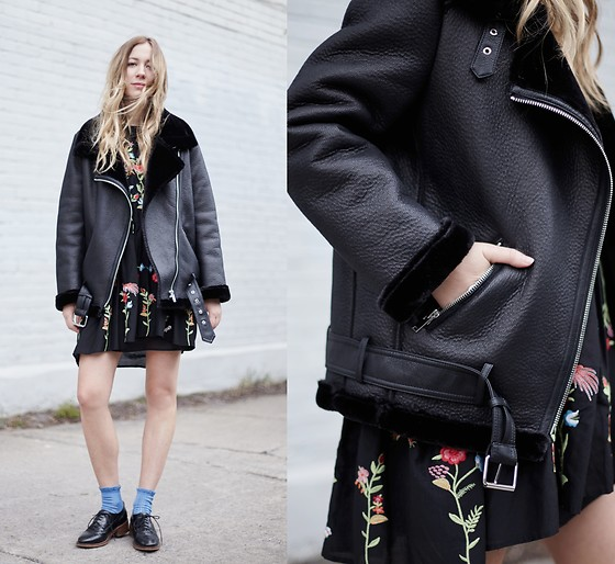 Gabrielle Lacasse - Zara Jacket, Zara Flower Dress, Topshop Frilled Socks - Colourful socks