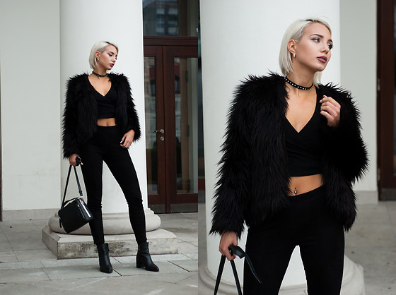 MONIKA S - Choker, Romwe Short Sleeve Cross V Neck T Shirt, Furry Jacket, High Waist Suede Pants, Leather Ankle Boots, Biker Purse - S7