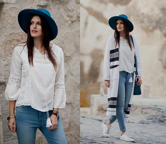 Viktoriya Sener - Vipme Cardigan, Catarzi Hat, Chic Wish Blouse, Mango Jeans - CARDIGAN MOOD
