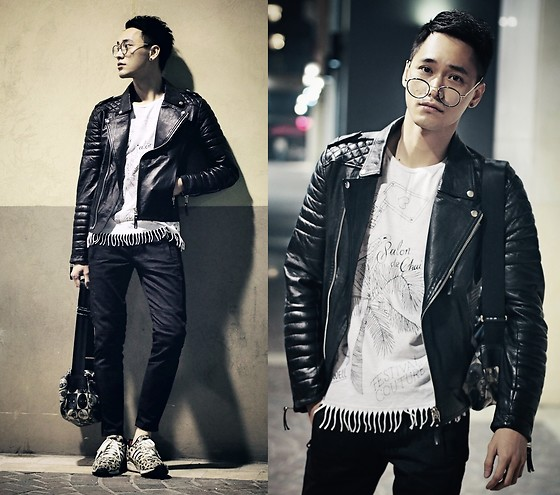 Chris Su - Boda Skins Leather Jacket, Scotch & Soda Tee, Zara Pants, Adidas Sneakers - Winter comes