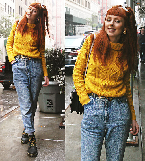 Trixie Belle (instagram = TRIXANDTHECITY) - Stylewe Yellow Knitted Sweater - OH HONEY!