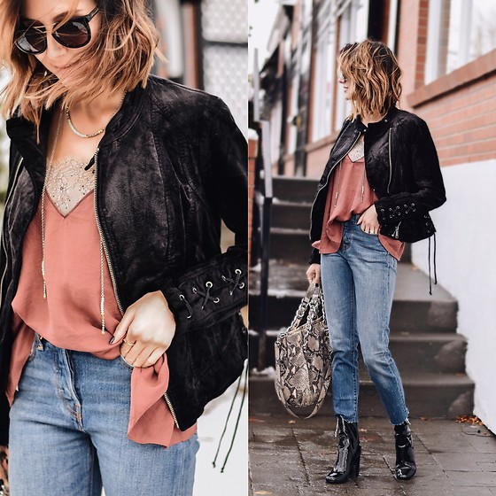 Amber - Free People Vevlet Lace Jacket, Levi's® Relaxed Jeans, Bcbg Snakeskin Bag - Velvety fall