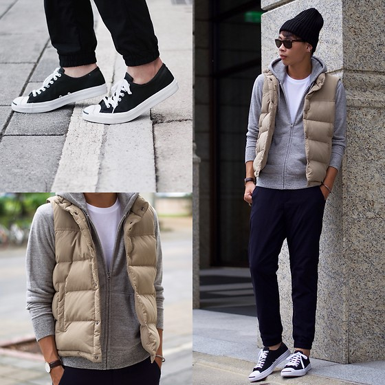 Anan Chien - Uniqlo Cap, Uniqlo Top, Uniqlo Jacket, Uniqlo Vest, Uniqlo Pants, Converse Shoes - Sporty look