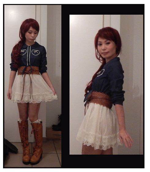 Nowaki Selenocosmia - Axes Femmes Kid Dress, Brown Boots, Sheinside Brown Belt - No Halloween this year