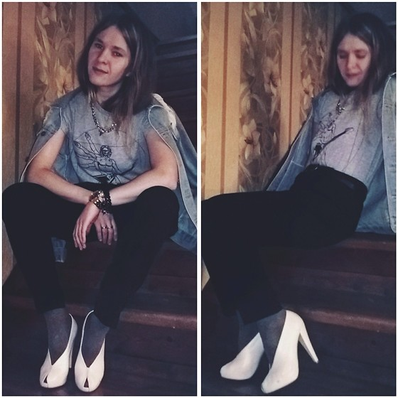Alla Dolzhenko - Tvoe T Shirt With Leonardo Da Vinci Print, Broken Arrows Oversized Denim Jacket, Tvor Black Pants, Tissot Watch, Shagal White Shoes, Jewelry - My wedding's SHOES