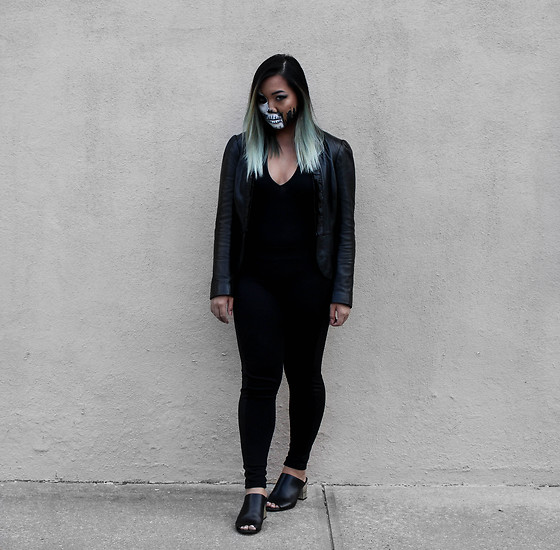 Jenn Hanft - American Apparel Halter Body Suit, White House Black Market Leather Jacket, Express Leggings, Steve Madden Infinitx Mules - Two-Faced