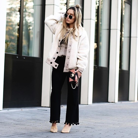 Fashiontwinstinct - Zara Velvet Top, Sonia Rykiel Cross Body Bag, Zara Mules - Teddy Jacket x Le Copain by Sonia Rykiel.