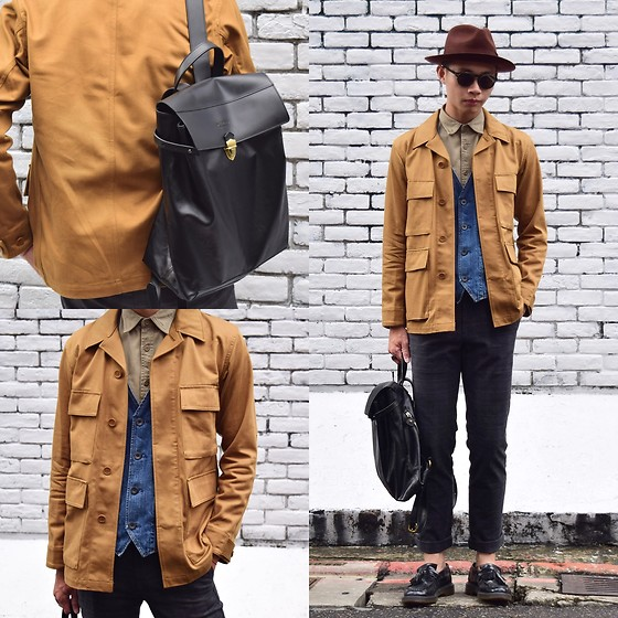 Anan Chien - Mcving Bag, Uniqlo Work Jacket, Uniqlo Shirt, Net Pants, Dr.Martens Loafers - Today's look