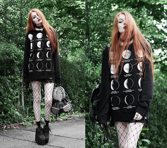 Olivia Emily - Killstar Heart Locket Choker, Killstar Moon Phases Sweater, Yru Qozmo Platforms - Moon Phases.