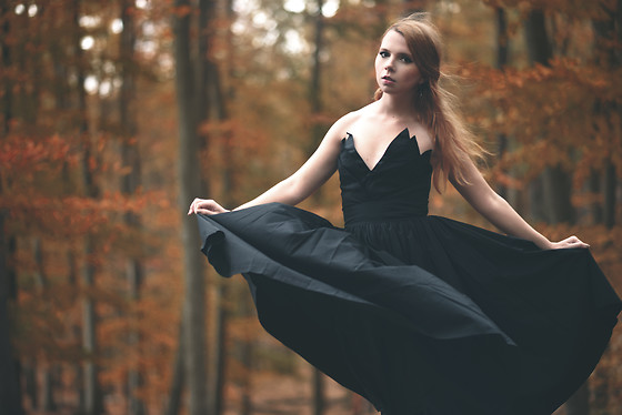 Catherine Black - Women Couture Black Dress - Flower of Autumn