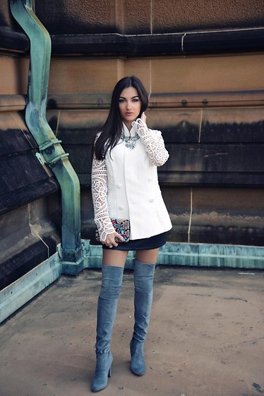 Alona Kalinina - Sheike White Lace Sleeves Jacket, Sheike Embellished Woven Chain Necklace, Zara Multicolor Beaded Clutch, Lipstik Shoes Grey Suede High Knee Boots, Forever New Black Leather Mini Skirt - White lace jacket
