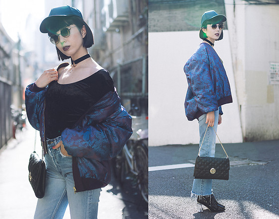 Samantha Mariko - Urban Outfitters Velvet Top, Fig & Viper Ma 1 Jacket, Moussy Denim, Public Desire Boots, Metrocity Bag, Asos Choker, Zerouv Sunglasses, Asos Cap - Velvet, satin and denim