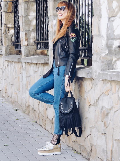 Daniela Macsim - Gamiss Embroidered Leather Jacket, Zaful Wedge Shoes, Zara Momfit Jeans, Clockhouse By C&A Bag, Zaful Cat Eye Sunglasses - Embroidered Leather Jacket